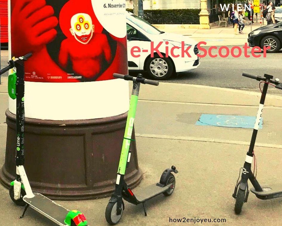 ウィーンでおばさんが電動キックボードに乗る