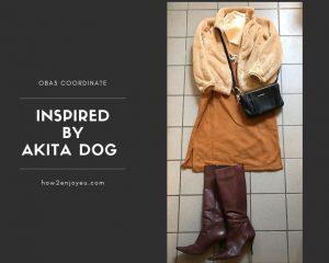 ユニクロUT、ミッキーのスウェットワンピを使った晩秋の秋田犬コーデ