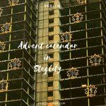 改築工事中のベルリンの高層ビルがクリスマス仕様になっていた