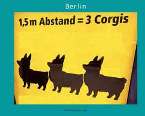 ベルリン交通局、ソーシャル・ディスタンスの新しい測り方はコーギー犬?!